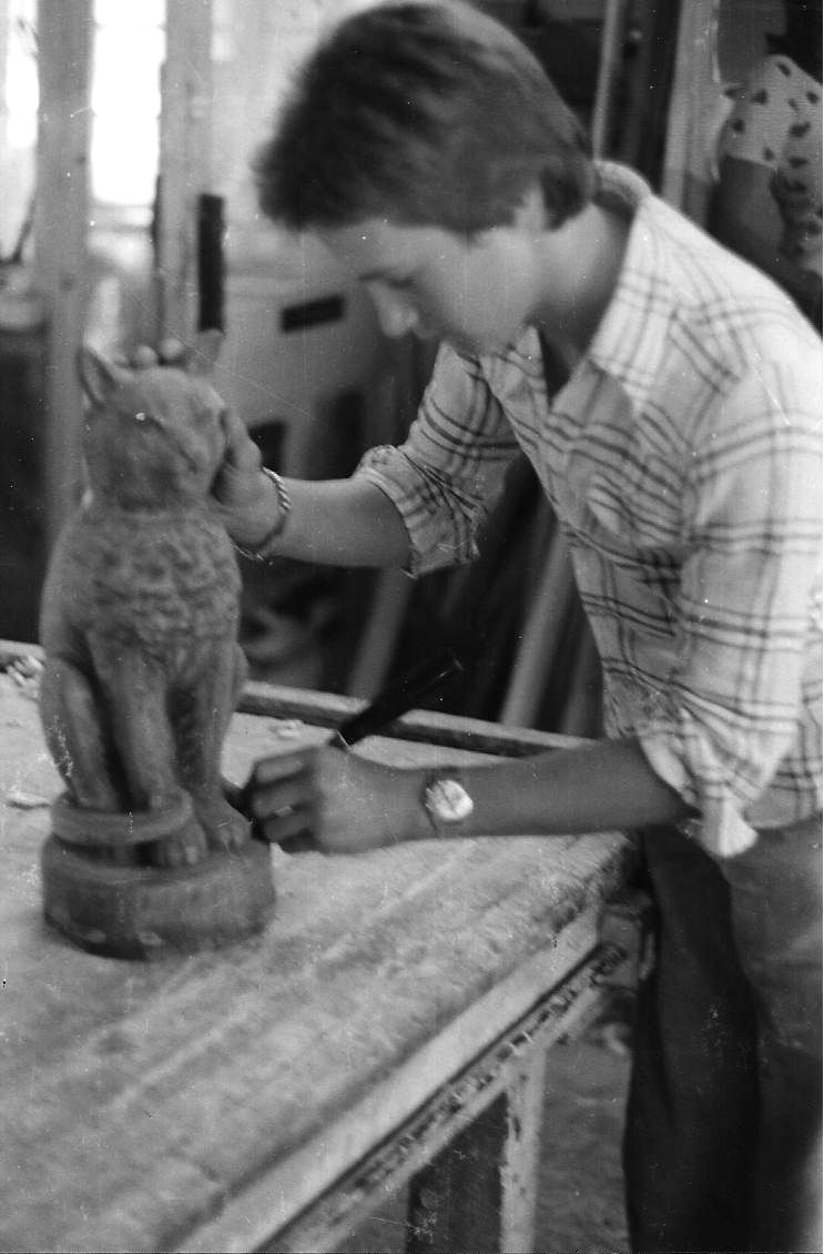 Cat renovation in Johnson's workshop by the young Melvyn Johnson - 1976
