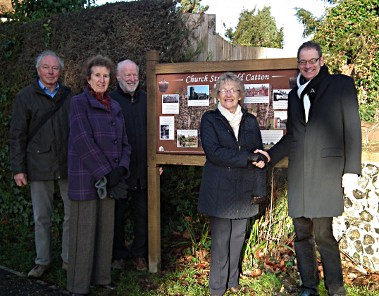 Handover of the new Old Catton Village sign