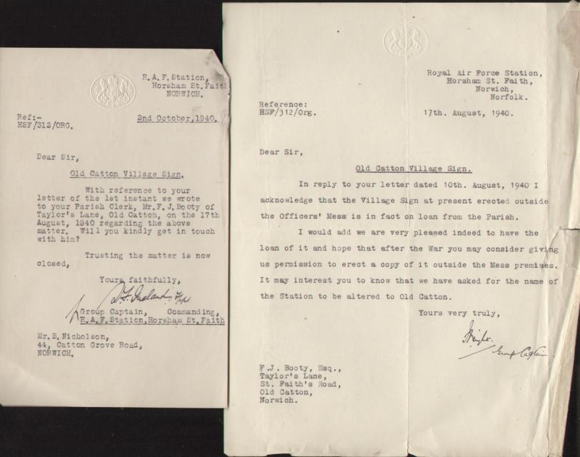 Letters from RAF - delighted to look after sign during wartime 1940